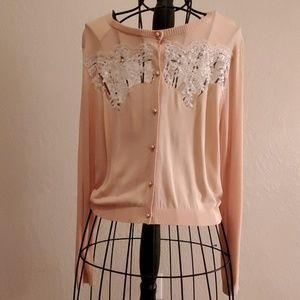 Belle Badgley Mischka Beige Silk Sweater XL